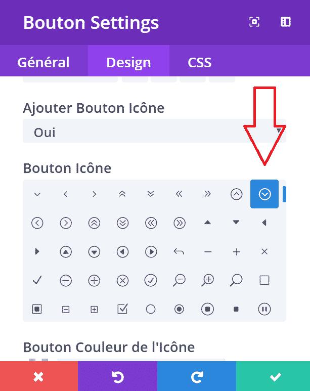 icône sur un bouton d'appel à l'action